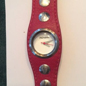 Accessories - Mint condition red leather band Nixon watch.